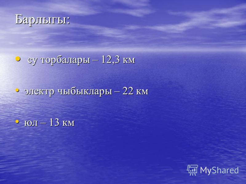 Барлыгы: су торбалары – 12,3 км су торбалары – 12,3 км электр чыбыклары – 22 км электр чыбыклары – 22 км юл – 13 км юл – 13 км