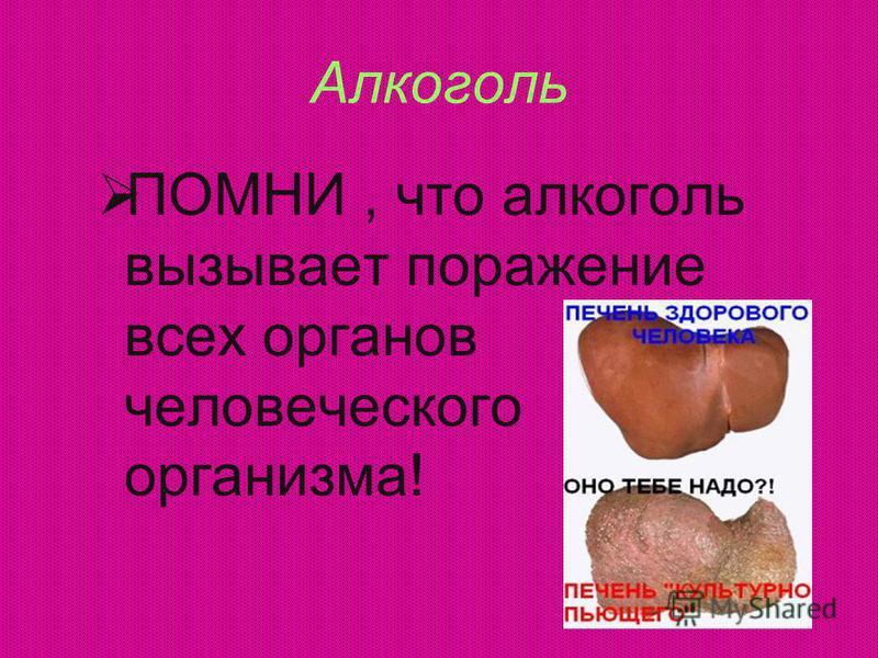 Алкоголь ПОМНИ, что алкоголь вызывает поражение всех органов человеческого организма!