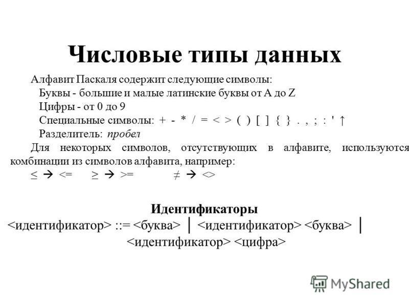 Числовые типы данных Алфавит Паскаля содержит следующие символы: Буквы - большие и малые латинские буквы от A до Z Цифры - от 0 до 9 Специальные символы: + - * / = ( ) [ ] { }., ; : ' Разделитель: пробел Для некоторых символов, отсутствующих в алфави