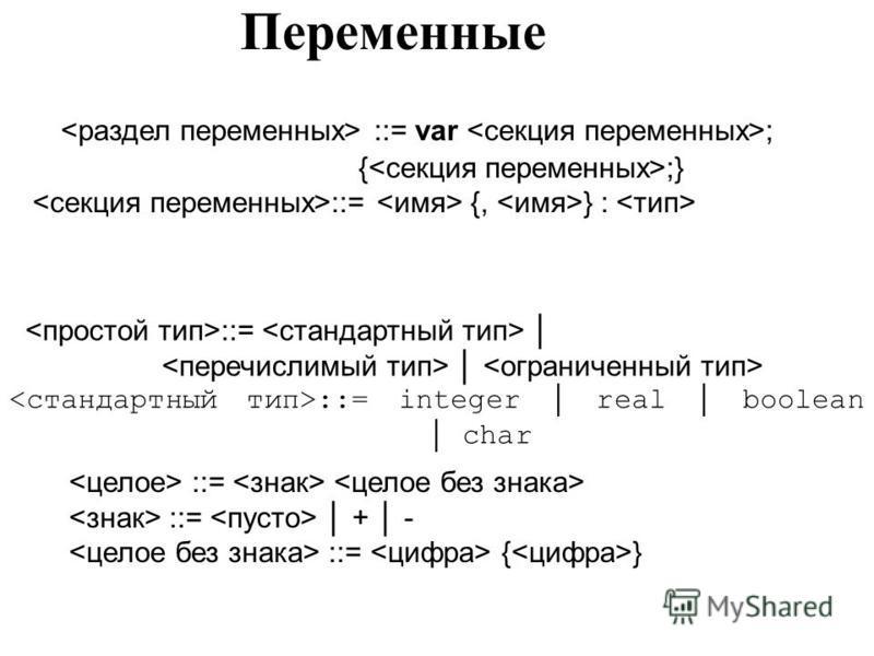 Переменные ::= var ; { ;} ::= {, } : ::= ::= integer real boolean char ::= ::= + - ::= { }