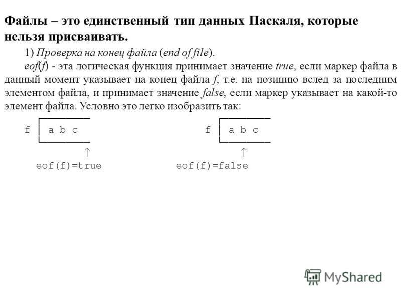 Файлы – это единственный тип данных Паскаля, которые нельзя присваивать. 1) Проверка на конец файла (end of file). eof(f) - эта логическая функция принимает значение true, если маркер файла в данный момент указывает на конец файла f, т.е. на позицию