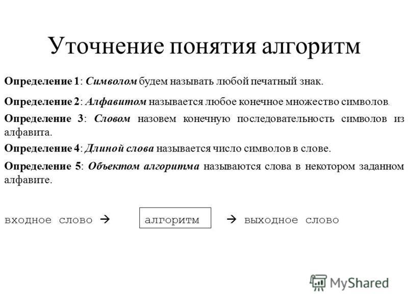 Уточнение понятия алгоритм Определение 1: Символом будем называть любой печатный знак. Определение 2: Алфавитом называется любое конечное множество символов. Определение 3: Словом назовем конечную последовательность символов из алфавита. Определение