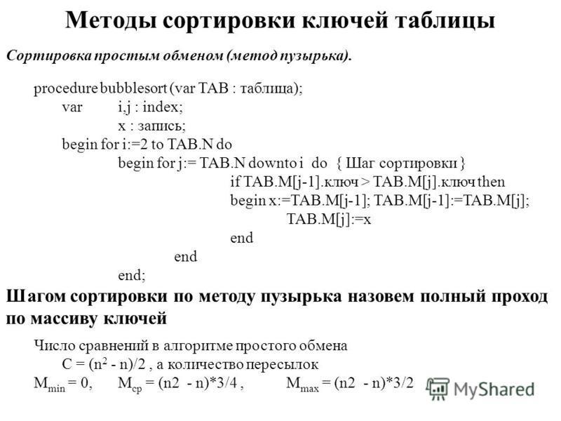 Методы сортировки ключей таблицы Сортировка простым обменом (метод пузырька). procedure bubblesort (var TAB : таблица); vari,j : index; x : запись; begin for i:=2 to TAB.N do begin for j:= TAB.N downto i do { Шаг сортировки } if TAB.M[j-1].ключ > TAB