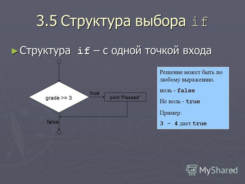12 3.5Структура выбора if Структура if – с одной точкой входа Структура if – с одной точкой входа true false grade >= 3 print Passed Решение может быть по любому выражению. ноль - false Не ноль - true Пример: 3 - 4 дает true