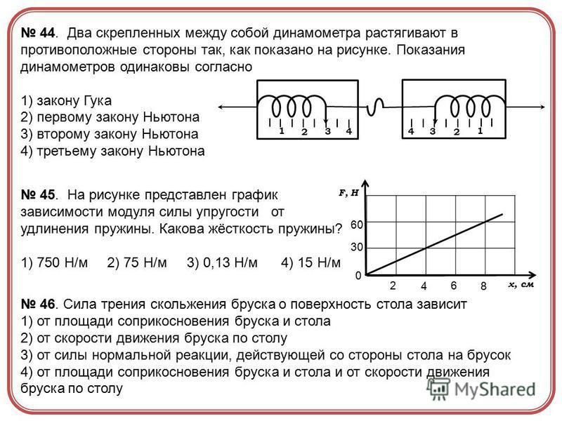 1 2 34 1 2 34 44. Два скрепленных между собой динамометра растягивают в противоположные стороны так, как показано на рисунке. Показания динамометров одинаковы согласно 1) закону Гука 2) первому закону Ньютона 3) второму закону Ньютона 4) третьему зак