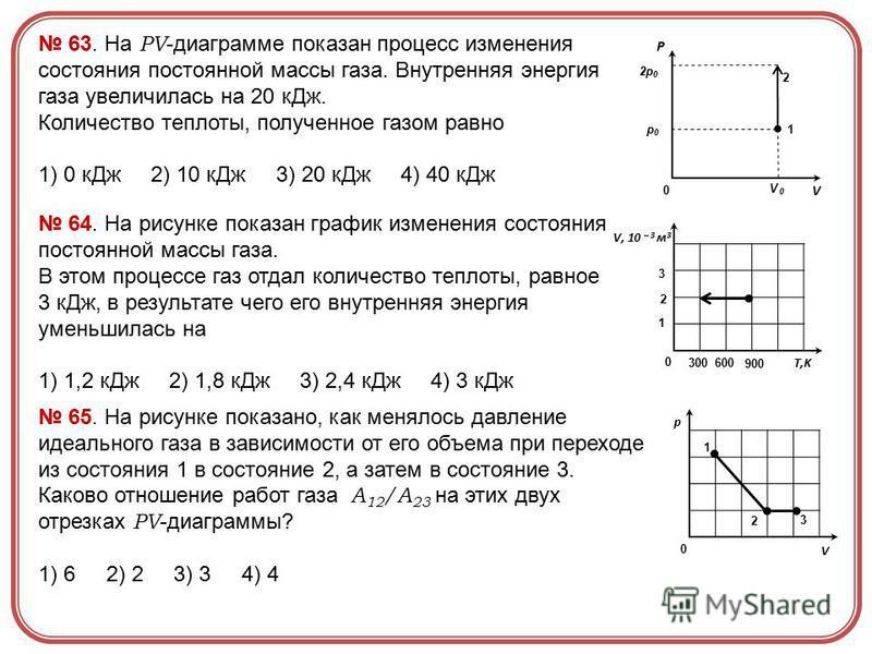 Р V V 0 2p 0 p0p0 0 1 2 63. На PV -диаграмме показан процесс изменения состояния постоянной массы газа. Внутренняя энергия газа увеличилась на 20 к Дж. Количество теплоты, полученное газом равно 1) 0 к Дж 2) 10 к Дж 3) 20 к Дж 4) 40 к Дж V, 10 – 3 м
