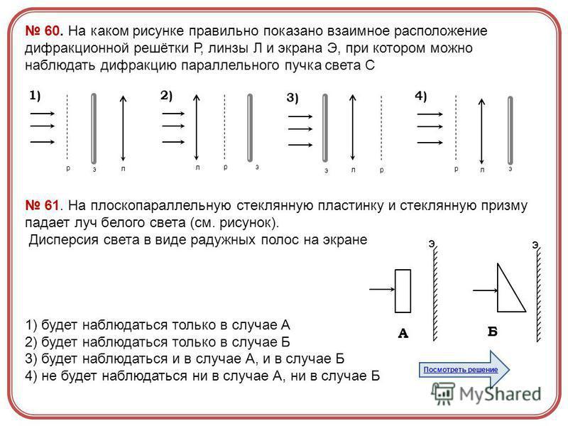 60. На каком рисунке правильно показано взаимное расположение дифракционной решётки Р, линзы Л и экрана Э, при котором можно наблюдать дифракцию параллельного пучка света С э р л 1) эр л 2) э р л 3) э р л 4) 61. На плоскопараллельную стеклянную пласт