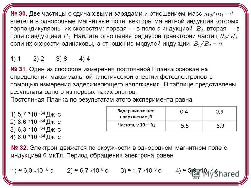 30. Две частицы с одинаковыми зарядами и отношением масс m 2 /m 1 = 4 влетели в однородные магнитные поля, векторы магнитной индукции которых перпендикулярны их скоростям: первая в поле с индукцией В 1, вторая в поле с индукцией В 2. Найдите отношени