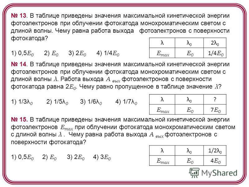 13. В таблице приведены значения максимальной кинетической энергии фотоэлектронов при облучении фотокатода монохроматическим светом с длиной волны. Чему равна работа выхода фотоэлектронов с поверхности фотокатода? 1) 0,5 E 0 2) E 0 3) 2 E 0 4) 1/4 E