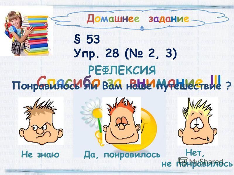 Домашнее задание § 53 Упр. 28 ( 2, 3) Спасибо за внимание !!! РЕФЛЕКСИЯ Да, понравилось Не знаю Нет, не понравилось Понравилось ли Вам наше путешествие ?