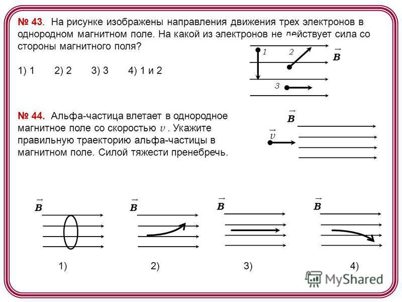 43. На рисунке изображены направления движения трех электронов в однородном магнитном поле. На какой из электронов не действует сила со стороны магнитного поля? 1) 1 2) 2 3) 3 4) 1 и 2 2 3 B 1 44. Альфа-частица влетает в однородное магнитное поле со