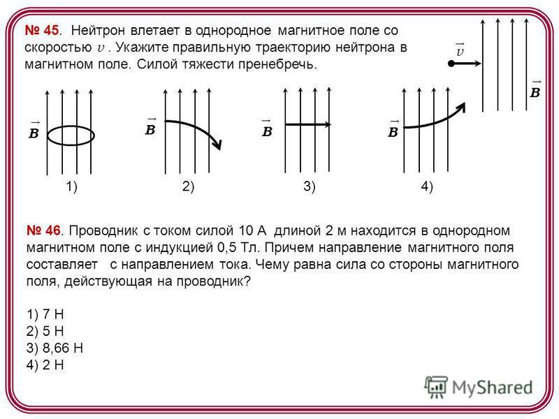 45. Нейтрон влетает в однородное магнитное поле со скоростью v. Укажите правильную траекторию нейтрона в магнитном поле. Силой тяжести пренебречь. B v B B 1) 2) 3) 4) B B 46. Проводник с током силой 10 А длиной 2 м находится в однородном магнитном по