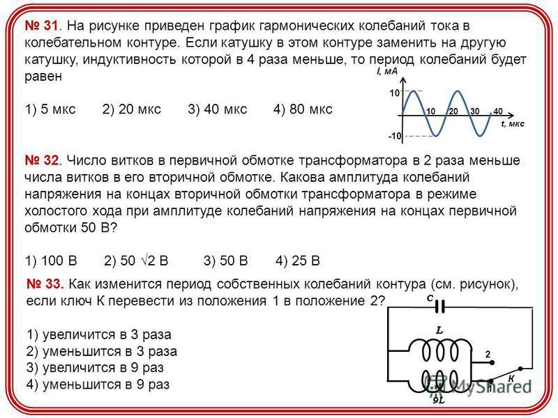 31. На рисунке приведен график гармонических колебаний тока в колебательном контуре. Если катушку в этом контуре заменить на другую катушку, индуктивность которой в 4 раза меньше, то период колебаний будет равен 1) 5 мкс 2) 20 мкс 3) 40 мкс 4) 80 мкс