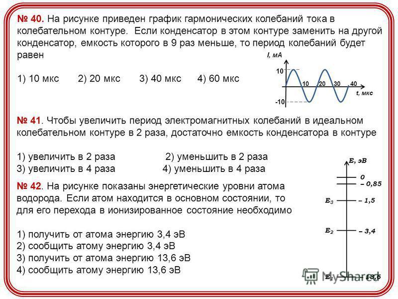 40. На рисунке приведен график гармонических колебаний тока в колебательном контуре. Если конденсатор в этом контуре заменить на другой конденсатор, емкость которого в 9 раз меньше, то период колебаний будет равен 1) 10 мкс 2) 20 мкс 3) 40 мкс 4) 60