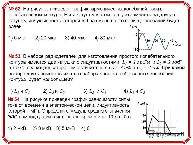52. На рисунке приведен график гармонических колебаний тока в колебательном контуре. Если катушку в этом контуре заменить на другую катушку, индуктивность которой в 9 раз меньше, то период колебаний будет равен 1) 5 мкс 2) 20 мкс 3) 40 мкс 4) 80 мкс