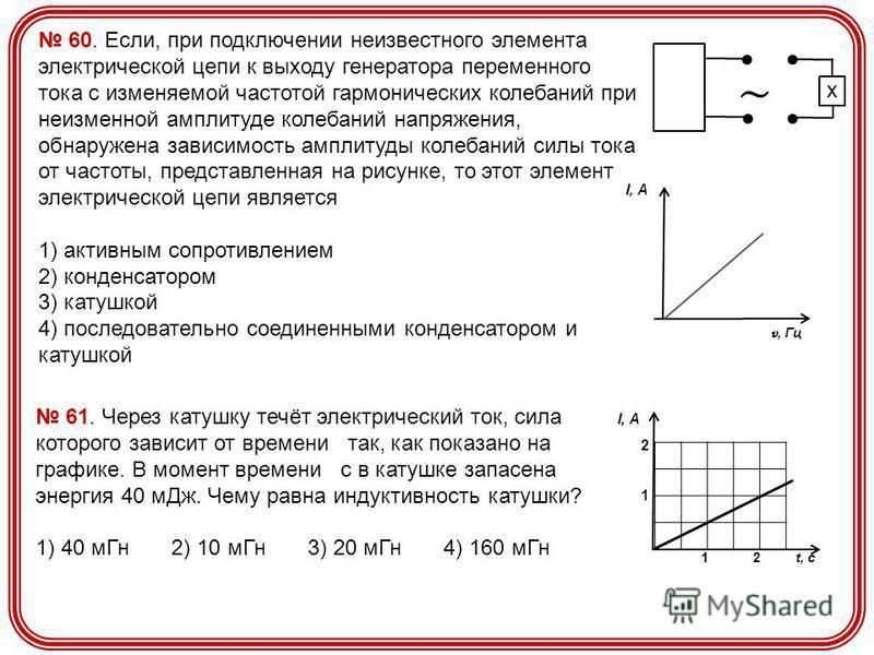 60. Если, при подключении неизвестного элемента электрической цепи к выходу генератора переменного тока с изменяемой частотой гармонических колебаний при неизменной амплитуде колебаний напряжения, обнаружена зависимость амплитуды колебаний силы тока