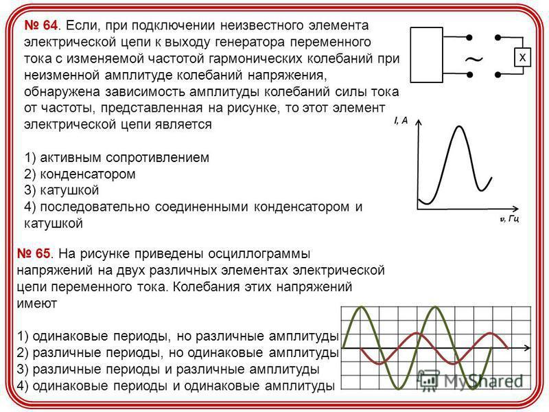 64. Если, при подключении неизвестного элемента электрической цепи к выходу генератора переменного тока с изменяемой частотой гармонических колебаний при неизменной амплитуде колебаний напряжения, обнаружена зависимость амплитуды колебаний силы тока