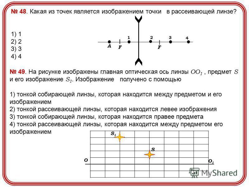 48. Какая из точек является изображением точки в рассеивающей линзе? 1) 1 2) 2 3) 3 4) 4 F F A 1 2 3 4 49. На рисунке изображены главная оптическая ось линзы OO 1, предмет S и его изображение S 1. Изображение получено с помощью 1) тонкой собирающей л