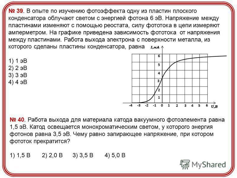 39. В опыте по изучению фотоэффекта одну из пластин плоского конденсатора облучают светом с энергией фотона 6 эВ. Напряжение между пластинами изменяют с помощью реостата, силу фототока в цепи измеряют амперметром. На графике приведена зависимость фот