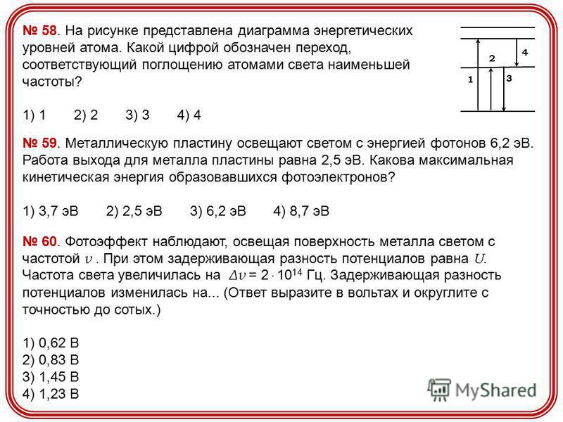 58. На рисунке представлена диаграмма энергетических уровней атома. Какой цифрой обозначен переход, соответствующий поглощению атомами света наименьшей частоты? 1) 1 2) 2 3) 3 4) 4 1 4 3 2 59. Металлическую пластину освещают светом с энергией фотонов