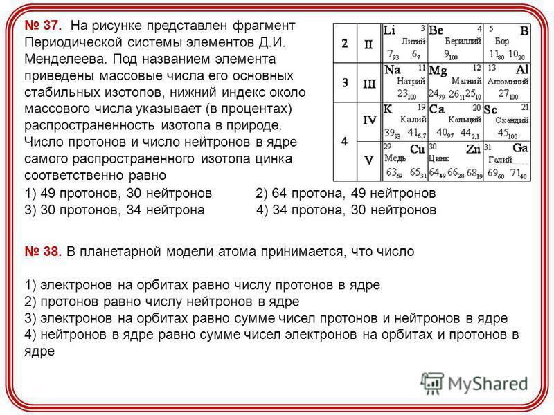 37. На рисунке представлен фрагмент Периодической системы элементов Д.И. Менделеева. Под названием элемента приведены массовые числа его основных стабильных изотопов, нижний индекс около массового числа указывает (в процентах) распространенность изот