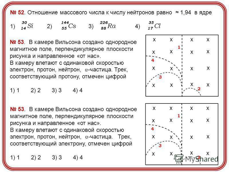 52. Отношение массового числа к числу нейтронов равно 1,94 в ядре 1) 2) 3) 4) 14 Si 30 55 Cs 144 88 Ra 226 17 Cl 35 хххх хх хх х х х х х х х х 1 2 3 4 53. В камере Вильсона создано однородное магнитное поле, перпендикулярное плоскости рисунка и напра