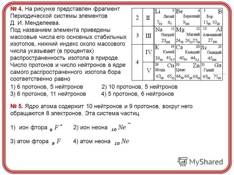 4. На рисунке представлен фрагмент Периодической системы элементов Д. И. Менделеева. Под названием элемента приведены массовые числа его основных стабильных изотопов, нижний индекс около массового числа указывает (в процентах) распространенность изот