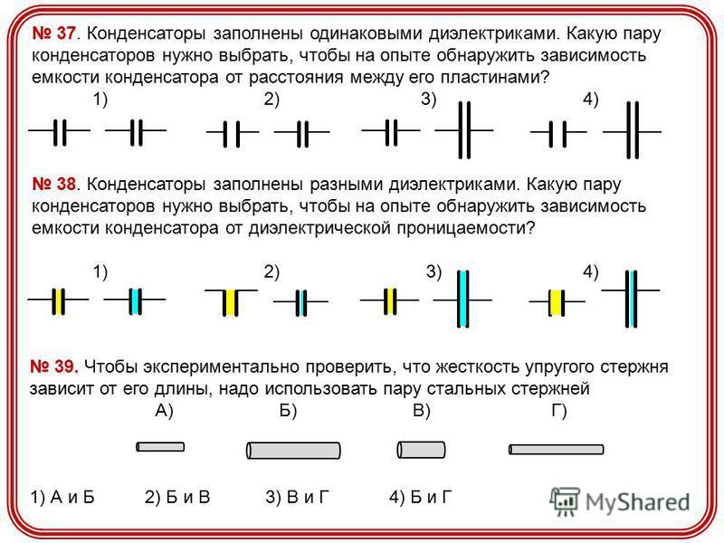 37. Конденсаторы заполнены одинаковыми диэлектриками. Какую пару конденсаторов нужно выбрать, чтобы на опыте обнаружить зависимость емкости конденсатора от расстояния между его пластинами? 1) 2) 3) 4) 38. Конденсаторы заполнены разными диэлектриками.