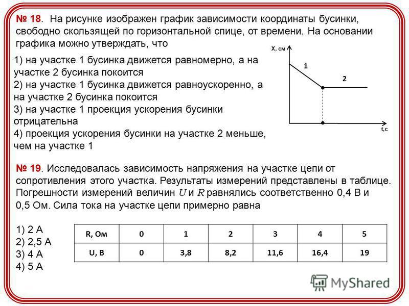 18. На рисунке изображен график зависимости координаты бусинки, свободно скользящей по горизонтальной спице, от времени. На основании графика можно утверждать, что Х, см t,с 1 2 1) на участке 1 бусинка движется равномерно, а на участке 2 бусинка поко
