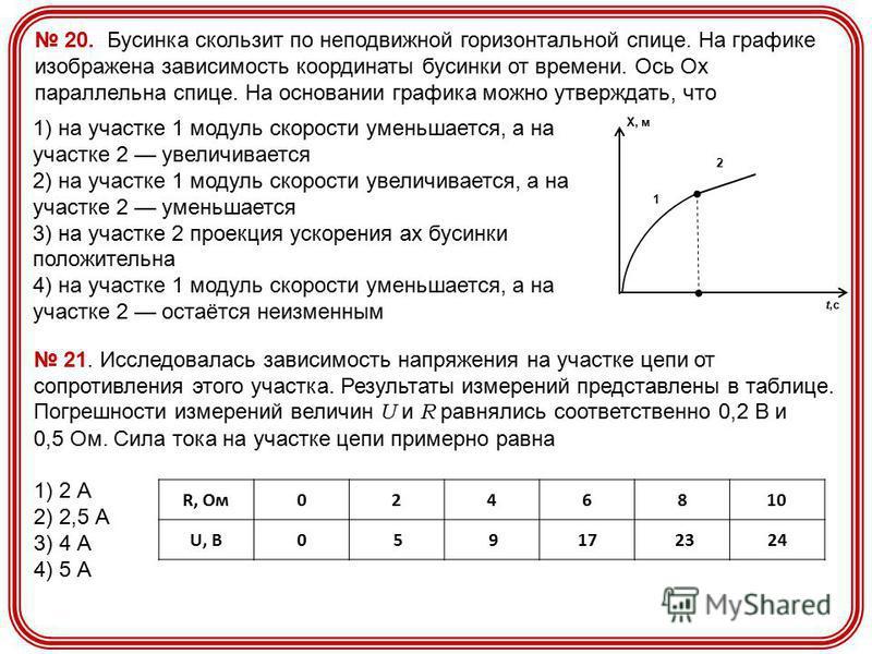 2 1 Х, м t,с 1) на участке 1 модуль скорости уменьшается, а на участке 2 увеличивается 2) на участке 1 модуль скорости увеличивается, а на участке 2 уменьшается 3) на участке 2 проекция ускорения ах бусинки положительна 4) на участке 1 модуль скорост