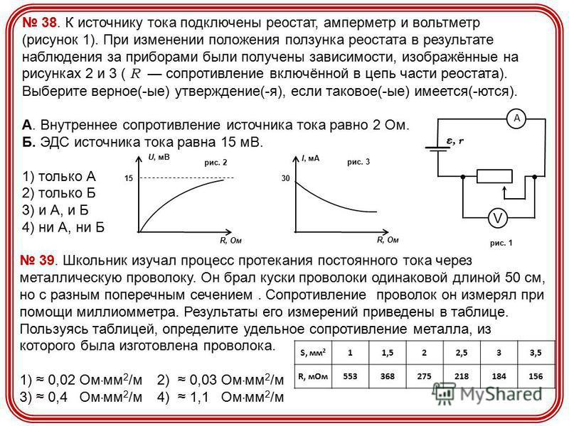 38. К источнику тока подключены реостат, амперметр и вольтметр (рисунок 1). При изменении положения ползунка реостата в результате наблюдения за приборами были получены зависимости, изображённые на рисунках 2 и 3 ( R сопротивление включённой в цепь ч