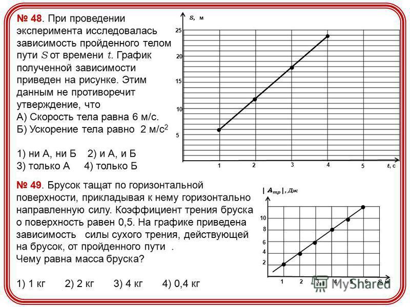 1010 5 S, м t, c 15 2020 25 1 2 3 4 5 48. При проведении эксперимента исследовалась зависимость пройденного телом пути S от времени t. График полученной зависимости приведен на рисунке. Этим данным не противоречит утверждение, что А) Скорость тела ра