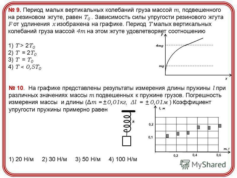 9. Период малых вертикальных колебаний груза массой m, подвешенного на резиновом жгуте, равен Т 0. Зависимость силы упругости резинового жгута F от удлинения х изображена на графике. Период Т малых вертикальных колебаний груза массой 4m на этом жгуте