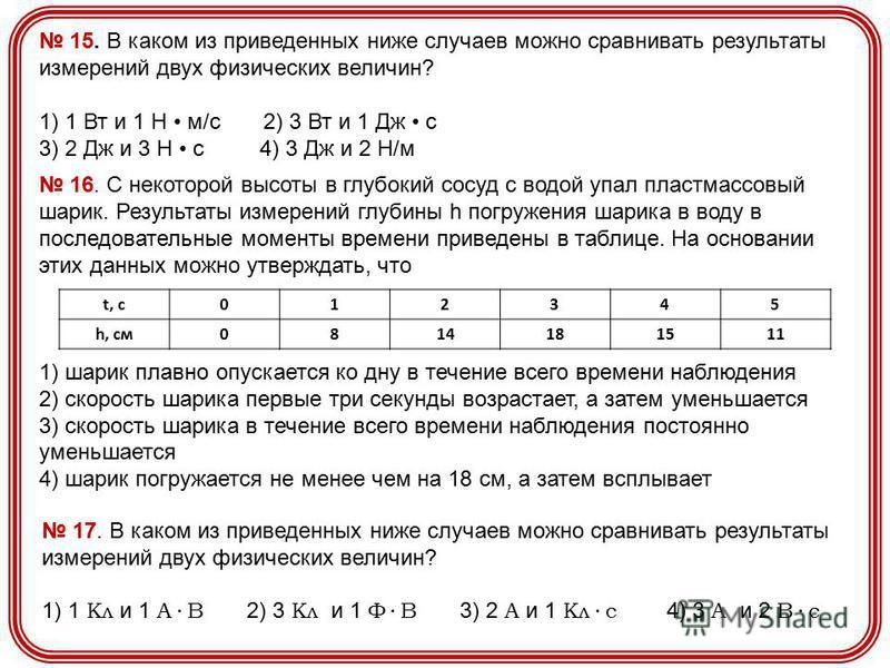 15. В каком из приведенных ниже случаев можно сравнивать результаты измерений двух физических величин? 1) 1 Вт и 1 Н м/с 2) 3 Вт и 1 Дж с 3) 2 Дж и 3 Н с 4) 3 Дж и 2 Н/м 16. С некоторой высоты в глубокий сосуд с водой упал пластмассовый шарик. Резуль