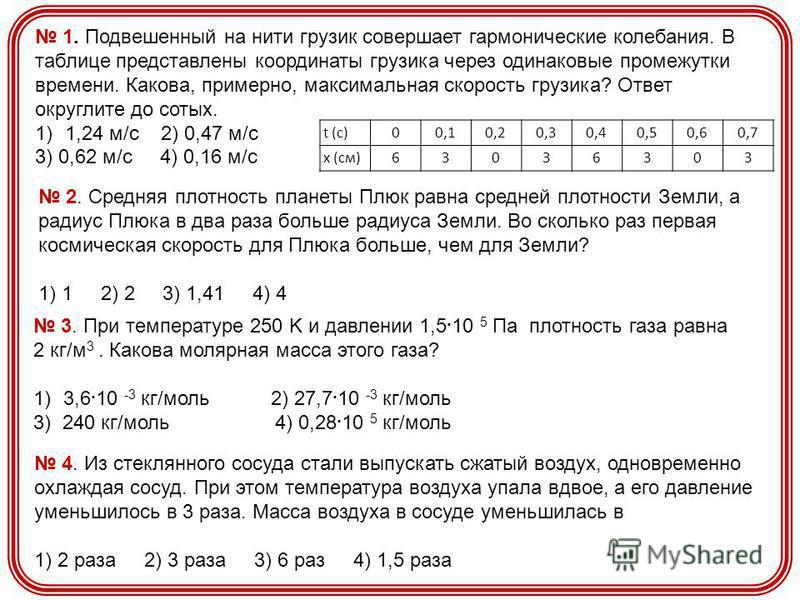 t (c) 0 0,10,20,30,40,50,60,7 x (см)63036303 1. Подвешенный на нити грузик совершает гармонические колебания. В таблице представлены координаты грузика через одинаковые промежутки времени. Какова, примерно, максимальная скорость грузика? Ответ округл