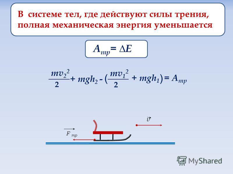 В системе тел, где действуют силы трения, полная механическая энергия уменьшается А тр = E mv 2 2 2 + mgh 2 - mv 1 2 2 + mgh 1 = А тр ( ) F тр v