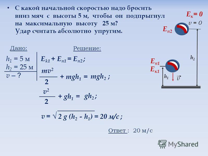 С какой начальной скоростью надо бросить вниз мяч с высоты 5 м, чтобы он подпрыгнул на максимальную высоту 25 м? Удар считать абсолютно упругим. Дано: h 1 = 5 м h 2 = 25 м v – ? Решение: Е k1 + E n1 = Е п 2 ; mv 2 2 + mgh 1 = mgh 2 ; v2 v2 2 + gh 1 =