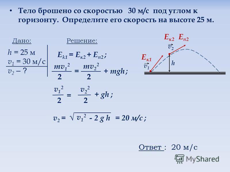 Тело брошено со скоростью 30 м/с под углом к горизонту. Определите его скорость на высоте 25 м. Дано: h = 25 м v 1 = 30 м/с v 2 – ? Решение: Е k1 = E к 2 + Е п 2 ; mv 1 2 2 = mv 2 2 2 + mgh ; h v1v1 v2v2 E к 1 Eп 2Eп 2 Eк 2Eк 2 v12v12 2 = v22v22 2 +