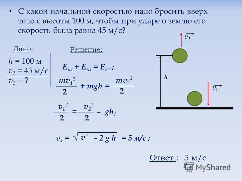С какой начальной скоростью надо бросить вверх тело с высоты 100 м, чтобы при ударе о землю его скорость была равна 45 м/с? v1v1 v2v2 h Дано: h = 100 м v 2 = 45 м/с v 1 – ? Е к 1 + E n1 = Е к 2 ; Решение: mv 1 2 2 + mgh = mv 2 2 2 v12v12 2 = – gh 1 v