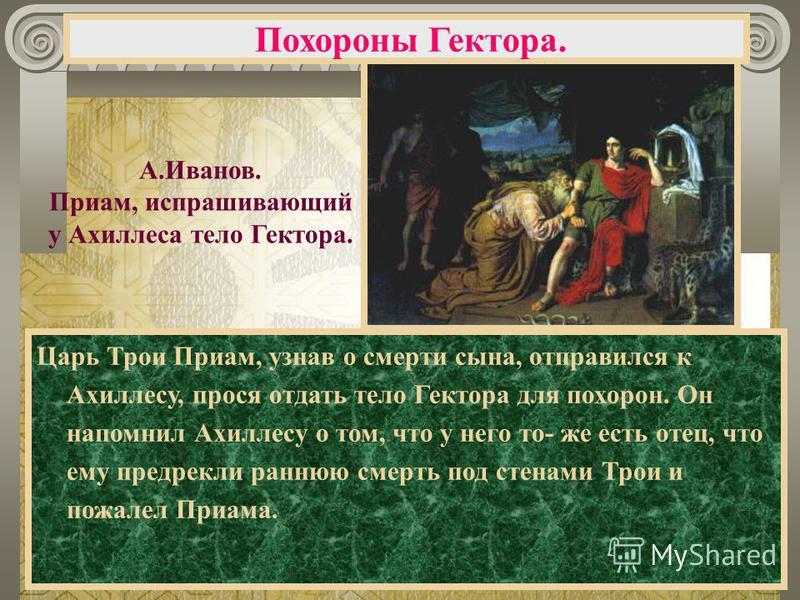 Царь Трои Приам, узнав о смерти сына, отправился к Ахиллесу, прося отдать тело Гектора для похорон. Он напомнил Ахиллесу о том, что у него то- же есть отец, что ему предрекли раннюю смерть под стенами Трои и пожалел Приама. Похороны Гектора. А.Иванов