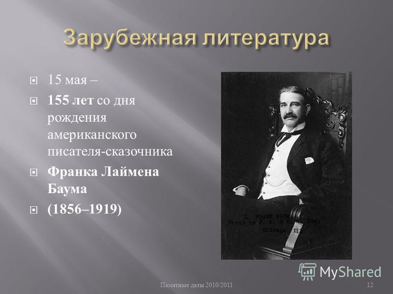 Памятные даты 2010/201112 15 мая – 155 лет со дня рождения американского писателя - сказочника Франка Лаймена Баума (1856–1919)