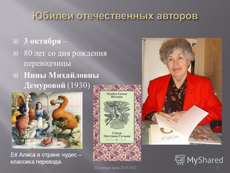 Памятные даты 2010/20113 3 октября – 80 лет со дня рождения переводчицы Нины Михайловны Демуровой (1930) Её Алиса в стране чудес – классика перевода.