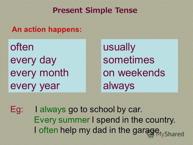 Present Simple Tense An action happens: often every day every month every year usually sometimes on weekends always Eg: I always go to school by car. Every summer I spend in the country. I often help my dad in the garage.