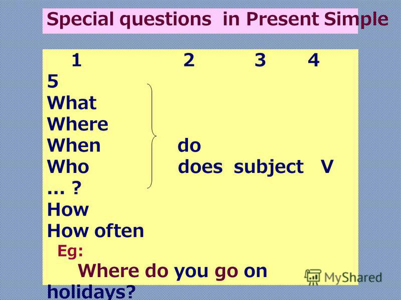 1 2 3 4 5 What Where When do Who does subject V... ? How How often Eg: Where do you go on holidays? When does he start working? How often do they play tennis? Special questions in Present Simple