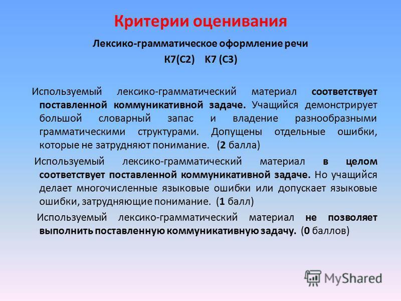Критерии оценивания Лексико-грамматическое оформление речи К7(С2) K7 (C3) Используемый лексико-грамматический материал соответствует поставленной коммуникативной задаче. Учащийся демонстрирует большой словарный запас и владение разнообразными граммат