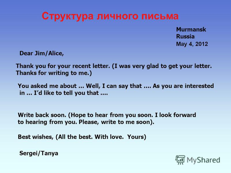 Структура личного письма Murmansk Russia Dear Jim/Alice, Thank you for your recent letter. (I was very glad to get your letter. Thanks for writing to me.) You asked me about … Well, I can say that …. As you are interested in … Id like to tell you tha
