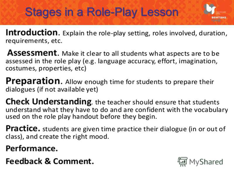 Stages in a Role-Play Lesson
