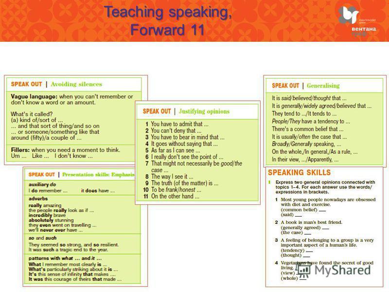 Teaching speaking, Forward 11