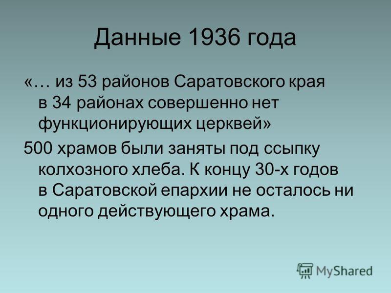 Данные 1936 года «… из 53 районов Саратовского края в 34 районах совершенно нет функционирующих церквей» 500 храмов были заняты под ссыпку колхозного хлеба. К концу 30-х годов в Саратовской епархии не осталось ни одного действующего храма.