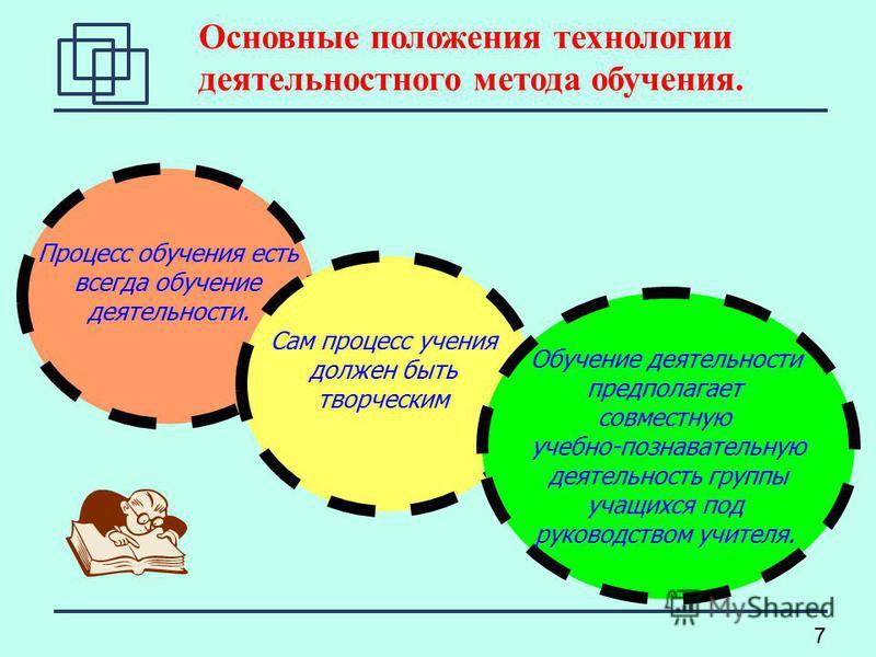 7 Основные положения технологии деятельностного метода обучения. Процесс обучения есть всегда обучение деятельности. Сам процесс учения должен быть творческим Обучение деятельности предполагает совместную учебно-познавательную деятельность группы уча